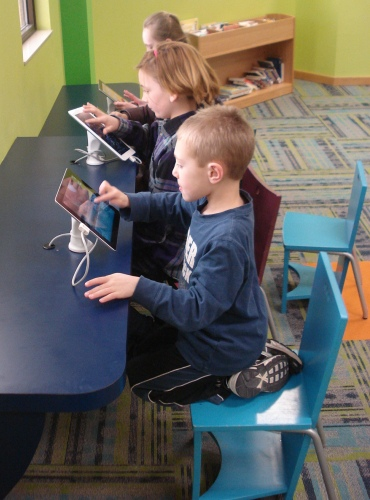 The special made built-in desks are a perfect match for our iPads.