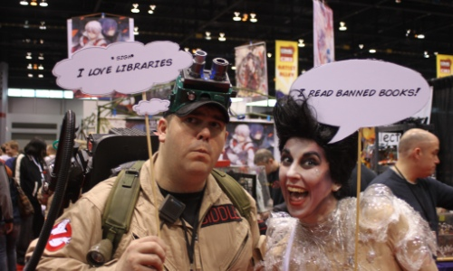Ghostbusters read banned books - image courtesy ALA The American Library Association on Flickr