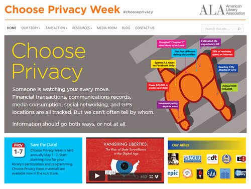 Image courtesy the American Library Association Choose Privacy campaign website