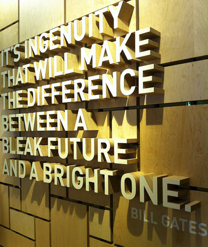 Gates Foundation Visitor Center Quote via Hugger Industries on Flickr cc-by-nc-sa-2.0