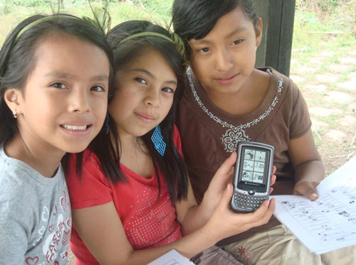 Youth in Guatamala learn GPS to map local natural and cultural sites. Photo courtesy of Riecken Community Libraries.