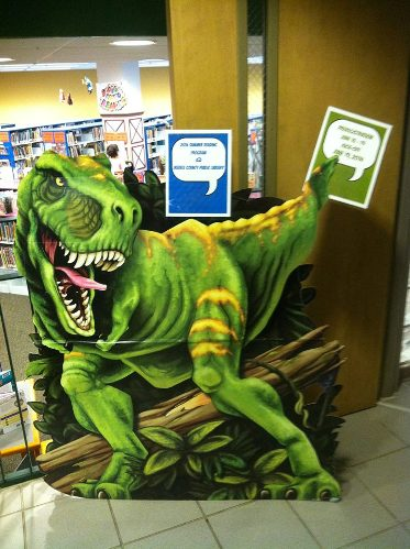 Flat Rex makes his way back to the main library