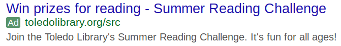 Image of a Google ad for the Summer Reading Challenge at the Toledo-Lucas County Public Library