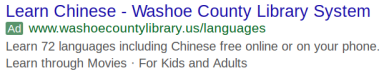Image of a Google ad for learning Chinese at the Washoe County Library System