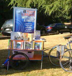 Bike-bookmobile in action