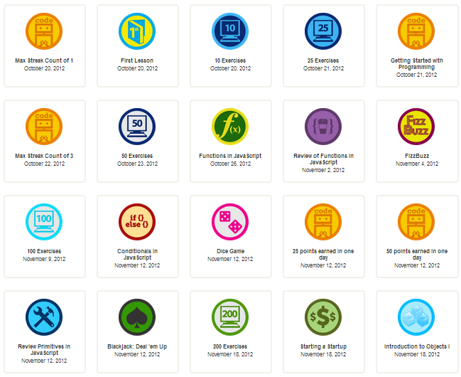 An example of badges earned in CodeAcademy