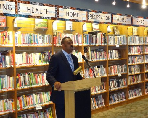 Atlantic City Mayor Lorenzo T. Langford speaks at the grand opening of the Richmond Branch Library