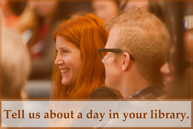 Photo depicts a smiling woman with red hair and a blond man with glasses. Text at the bottom reads Share how your library has helped to transform individuals and strengthen communities.