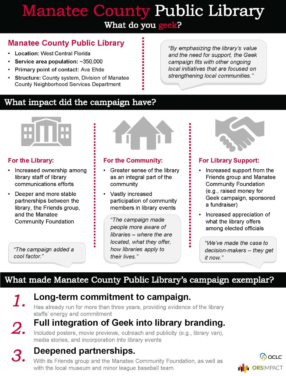 Summary of Manatee County Public Library case study