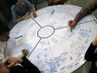 Photo of people working around a tabletop whiteboard.