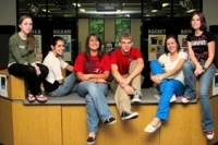 McCracken County Public Library Teen Team 2008 posing on circ desk