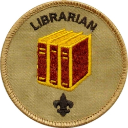 Librarian merit badge, courtesy of the boy scouts
