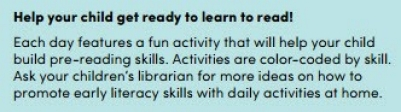 Early Literacy Calendar ideas