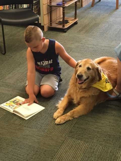 Child reading with a gold retriever