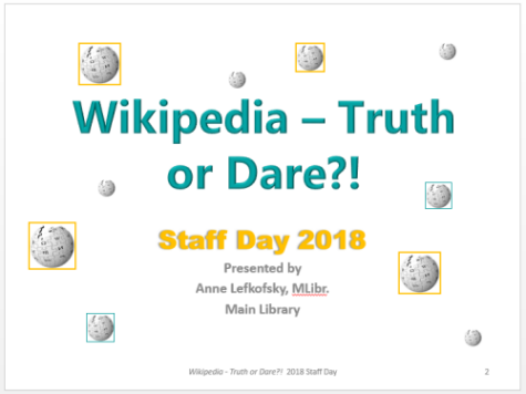 Graphic for Wikipedia Truth or Dare staff day event