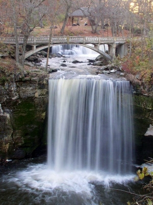Photo of Minneopa Falls, the largest waterfall in Southern Minnesota.