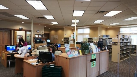 Photo of the reference desk at the library