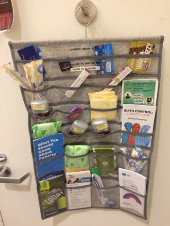 Photo of hygiene products and pamphlets for teens.